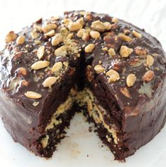 """Homemade """"Snickers"""" Chocolate Cake - This is a decadent chocolate cake recipe - perfect for people who love Snickers candy."""