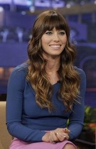Brunette Hair with caramel highlights and bangs - Jessica Biel