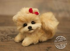 Puppy Spitz Letty,(is possible repeat to order) teddy dog ,Teddy ,Toy , little Spitz , pomeranian by teddiktoys on Etsy
