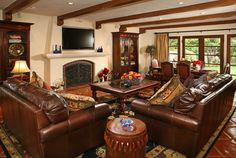 Living Room decorate with leather furniture Design Ideas, Pictures, Remodel and Decor