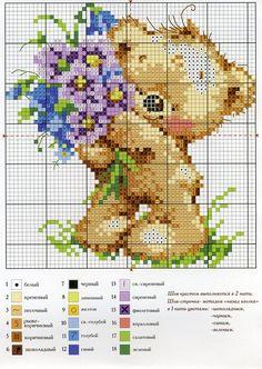 Cross stitch pattern - Bear & Bouquet