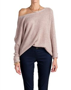 Heathered and Knitted Long Sleeve Top - Mauve | 2020AVE