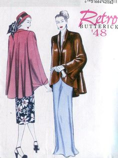 Reproduction Butterick 5144 Retro 1940's 1948 Swing Coat Jacket FREE US SHIP by LanetzLivingPatterns on Etsy