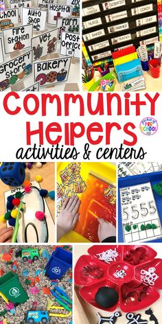 THIS HAS MANY IDEAS ! Community Helper themed activities and centers for preschool, pre-k, and kindergarten. Plus FREE community signs & fire printable. Community Helpers Lesson Plan, Community Helpers Activities, Community Helpers Kindergarten, Kindergarten Activities, Preschool Printables, Craft Activities, Preschool Classroom Centers, Preschool Center Signs, September Preschool Themes