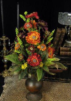Mixed Poppy Flower Urn Floral Arrangement Centerpiece Old World Home Decor Fall Floral Arrangements, Dried Flower Arrangements, Wedding Arrangements, Floral Centerpieces, Pumpkin Arrangements, Artificial Floral Arrangements, Wedding Centerpieces, Ikebana, Cemetery Flowers