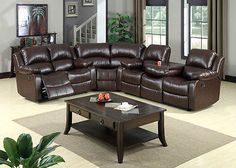 Big Sectional Sofa Leather Reclining Sectional Couch Living room Furniture Brown
