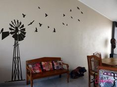 Giant South African Windpump Windpomp Wall Art Sticker Decal Vinyl Interior Decor Decoration for