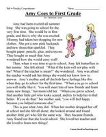 Reading Comp (story 1 about going to first grade)