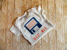 Computer Nerdy Baby Bodysuit. Floppy Disk Lil Bit, IT geek baby gift, funny, old school infant, Baby Genius, Dorky Shower gift, Nerd Swag by SewNerdyGifts on Etsy https://www.etsy.com/listing/228629611/computer-nerdy-baby-bodysuit-floppy-disk