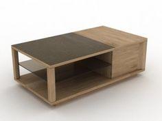 Séjour Obsession - Table basse rectangulaire coffre bar, dessus céramique et bois, plateau dessous verre. Longueur : 120 cm - Hauteur : 42 cm - Largeur : 67 cm.