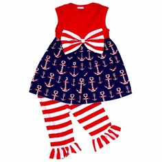 1f08dd0fb50e 4th Of July Outfit Boutique Style Patriotic Baby Girls Red White Blue  Toddler 2T  UniqueBaby