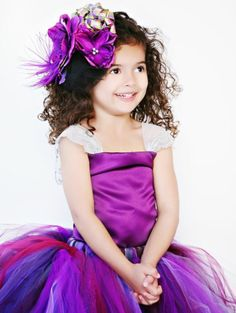 Satin Top PURPLE Dress-Floral Rose Gown TuTu Tulle