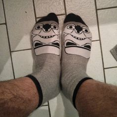 I thought these Star Wars socks were really cool until I put them on and saw this face staring back at me