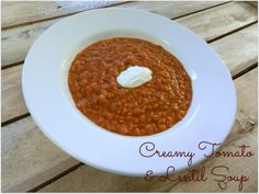 A Busy Mom's Slow Cooker Adventures: Creamy Tomato and Lentil Soup - use @So Delicious Dairy Free unsweetened plain vegan yogurt to make this vegan!