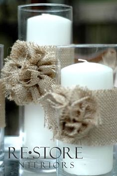 burlap wrapped candles with burlap rosettes Burlap Rosettes, Burlap Flowers, Diy Flowers, Fabric Flowers, Burlap Bows, Flower Diy, Red Fabric, White Flowers, Burlap Projects