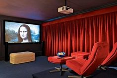 Simple, contemporary media room design. From Robin Chell Designs, discovered on search.porch.com