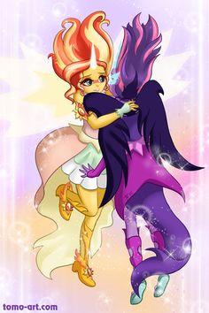 #990147 - artist:facja, daydream shimmer, equestria girls, friendship games, hug, midnight sparkle, safe, spoiler:friendship games, sunset shimmer, twilight sparkle - Derpibooru - My Little Pony: Friendship is Magic Imageboard