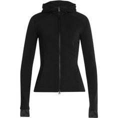 Adidas by Stella McCartney Zipped Jersey Hoodie ($140) ❤ liked on Polyvore featuring tops, hoodies, black, zip front hooded sweatshirt, black hoodie, slim fit hoodie, zipper hoodies and zippered hooded sweatshirt