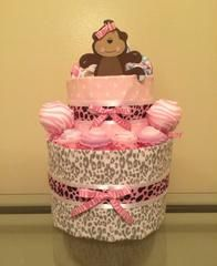 Roar baby, roar!!!!! Includes: 45 size 1 Huggies diapers, 3 hooded terry cloth bath towels, 7 washcloths, 2 pairs of boogie socks, 2 jungle theme onesies (size 0-3 months), pink brush/comb set, and Jo