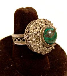 Eilat Stone Sterling Silver Dome Ring Israel by Oldtreasuretrunk