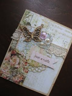 shabby chic card- by Kendra Love the use of lace and buttons! Butterfly Cards, Flower Cards, Card Making Inspiration, Making Ideas, Key Crafts, Paper Crafts, Creative Cards, Creative Ideas, Mixed Media Cards