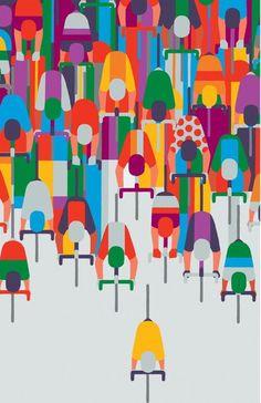 "felixinclusis: "" bisign: Le Tour de France Above Poster designed by Adrian Johnson for Transport for London "" Illustration Design Graphique, Illustration Vector, Bicycle Illustration, Bike Poster, Poster S, Poster Wall, Poster Prints, Adrian Johnson, Plakat Design"