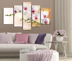 Large Wall CANVAS ART - White Orchid Flowers Canvas Art Print Asymmetric 5 Panel | Orchid Canvas Printing | Orchid Canvas Art Paint
