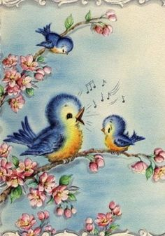 vintage birthday card with singing bluebirds Vintage Birthday Cards, Vintage Greeting Cards, Vintage Postcards, Images Vintage, Vintage Pictures, Bird Art, Vintage Prints, Blue Bird, Vintage Christmas