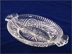 Vintage Anchor Hocking Thousand LIne Stars and Bars Divided Pressed Glass Relish Dish. $8.00, via Etsy.