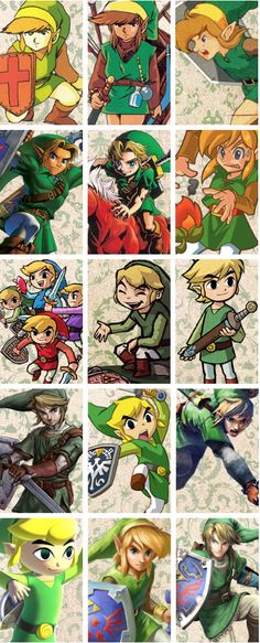 The Legend of Zelda - Link Through the Years. Different drawings of link since he was developed. Possible to use to help replicate him in a different way.