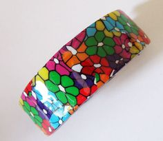 New polymer clay hair clip barrette ponytail holder by myfiori