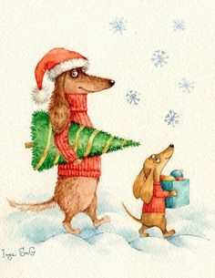 Walking in snow with Christmas tree and gift Arte Dachshund, Dachshund Love, Daschund, Christmas Animals, Christmas Cats, Merry Christmas, Photo Images, Christmas Cartoons, Weenie Dogs