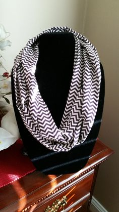 Infinity Scarf - Purple  and Off White Chevron by SittisHands on Etsy
