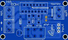 Layout Atas TDA 7377  Hi-fi Arduino, Circuit Board Design, Electrical Circuit Diagram, Subwoofer Box Design, Hobby Electronics, Stereo Amplifier, Speaker Design, Technology, Layouts