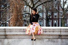 Reminiscence of Spring #petitestyle #breakalltherules Big prints;  Floral Midi Skirt