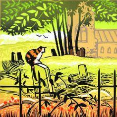 Church Yard Cat Rob Barnes Linocut at Norton Way Gallery Hertfordshire