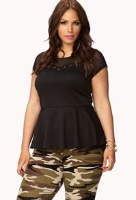 Cross Studded Peplum Top - Women's Plus Size Clothing at Forever 21+