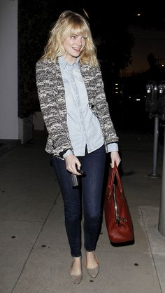 Emma Stone in button-down, cardigan, and flats..looks so comfy and cute