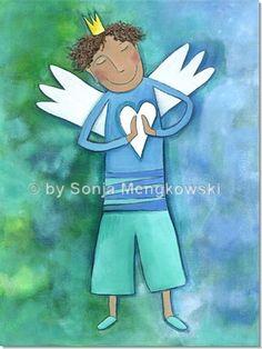 Serie: Schutzengel Bilder Motiv: Schutzengel Wandbild für Jungen