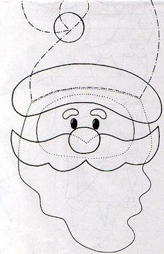 Santa pattern to make in felt.: loads of Christmas felt patterns!Wool Felt Christmas by Ei Menina!Template for Santa Ornament Many felty patterns. Felt Christmas Decorations, Felt Christmas Ornaments, Christmas Art, Christmas Projects, Christmas Stockings, Christmas Stencils, Christmas Applique, Christmas Sewing, Christmas Templates