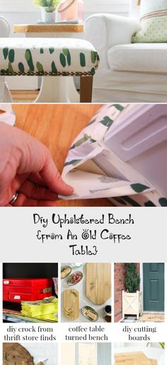 Diy Upholstered Bench {from An Old Coffee Table} - woodworking projects beautiful Diy Wood Planter Box, Diy Wood Bench, Planter Boxes, Coffee Table Bench, Old Coffee Tables, Woodworking Projects, Diy Projects, Small Bench, Diy Cutting Board