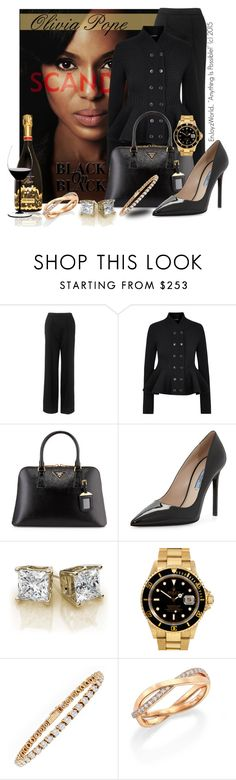 """Olivia Pope: ""Black On Black"""" by enjoyzworld ❤ liked on Polyvore featuring Whistles, Alexander McQueen, Prada, Rolex, Trilogy, De Beers and Riedel"