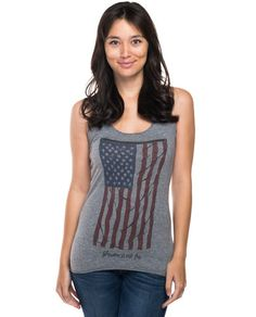 Vintage Flag Triblend Racerback Tank.  This illustration of a majestic American flag is a symbol of the bravery, commitment, and service that went into giving our country the freedom that it cherishes. Wear this star-spangled banner with pride and celebrate the brave soldiers that fought for us.  #Sevenly #GiveBack #ShopForACause ❤️
