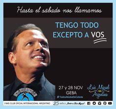 Luis Miguel -EN ARGENTINA DEJAVUTOUR- 2015 Tengo Todo Excepto a Ti, fans club oficial internacional Argentino-  Desde 1990 Junto a Luis Miguel Seguinos en todas nuestras redes sociales: FACEBOOK:  https://www.facebook.com/pages/Tengo-Todo-Excepto-A-Ti/595464773913653 TWITTER: @tengotodoclub - INSTAGRAM: @Tengotodocluboficial -