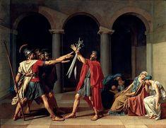 Il giuramento degli Orazi,1784, olio su tela, conservato nel Musée du Louvre di Parigi. Il manifesto del Neoclassicismo.