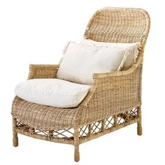 Empire Chair in Natural Slimit rattan with cushions Rattan Armchair, Rattan Dining Chairs, Dining Room Furniture, Outdoor Furniture, Modern Furniture, Outdoor Seating, Outdoor Chairs, Outdoor Decor, Ceramic Stool