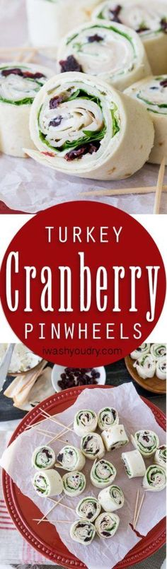 These Turkey Cranberry Pinwheels are filled with a creamy cream cheese, spinach…