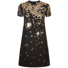 Valentino Floral Sequin Embellished Dress (240.475 RUB) ❤ liked on Polyvore featuring dresses, floral cocktail dresses, floral print dress, sequin shift dress, evening dresses and shift dress