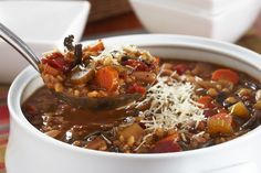 Serve up this Slow-Cooker Bean & Barley Soup with crusty bread and a crisp green salad tossed with your favourite Kraft Dressing. For the perfect finishing touch, top this Slow-Cooker Bean & Barley Soup with Parmesan cheese. Slow Cooker Beans, Slow Cooker Soup, Slow Cooker Recipes, Soup Recipes, Cooking Recipes, What's Cooking, Crockpot Recipes, Chowder Recipes, Family Recipes