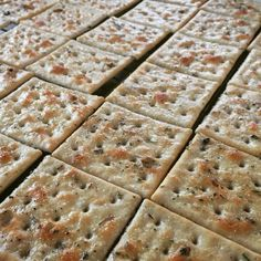 From The Pioneer Woman: Melt butter, stir in seasoned salt and Italian seasoning, dunk saltine crackers, set 'em on a rack over a baking sheet, and bake 'em at 275 for 20-25 minutes. Yummy with soup or salad! Or anything, for that matter.